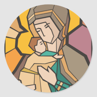 JESUS CHRIST WITH MOTHER MARY CLASSIC ROUND STICKER