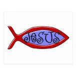 Jesus Christian Fish Design Post Card