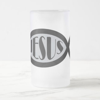 JESUS Christian Fish Symbol Frosted Glass Beer Mug
