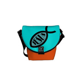 JESUS Christian Fish Symbol Courier Bags