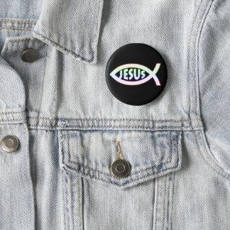 Jesus Christian Fish Symbol Pinback Button