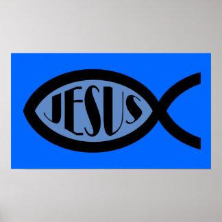 JESUS Christian Fish Symbol Poster