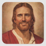 Jesus Christ's Loving Smile Square Sticker