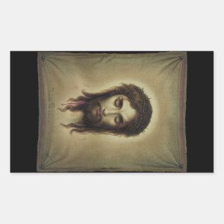 Jesús Christus por Kurz y Allison (1880) Pegatina Rectangular