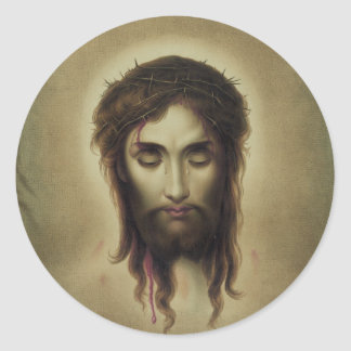 Jesús Christus por Kurz y Allison (1880) Pegatina Redonda
