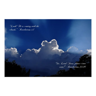 Jesus Coming in the Clouds Inspirational Poster