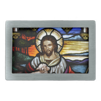 Jesús como el buen pastor hebillas cinturón rectangulares