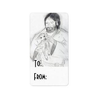 Jesús con el cordero etiqueta de dirección