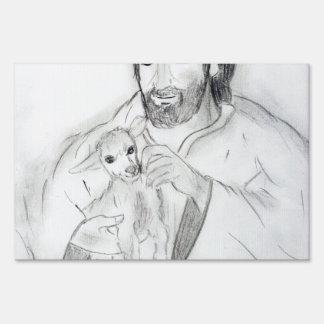 Jesús con el cordero letrero