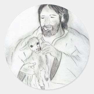 Jesús con el cordero pegatina