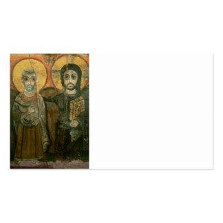 Jesús con el icono copto del abad tarjetas de visita