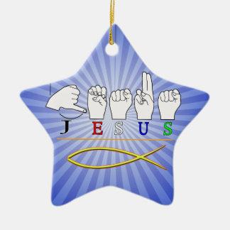 JESÚS con el SÍMBOLO CRISTIANO FINGERSPELLED ASL d Adornos De Navidad