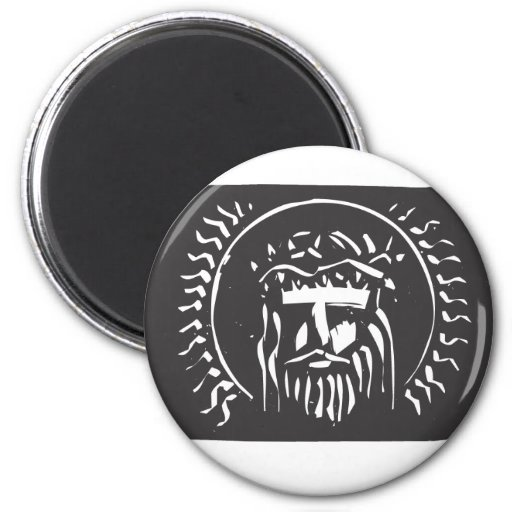 Jesús con la corona de la espina imán redondo 5 cm
