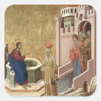 Jesús con la mujer en el pozo pegatina cuadrada