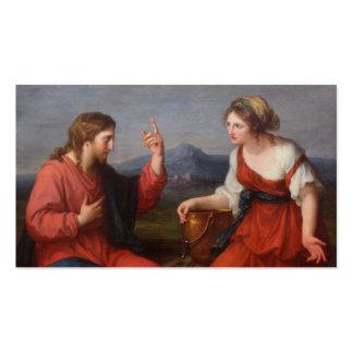 Jesús con la mujer en el pozo plantilla de tarjeta de negocio