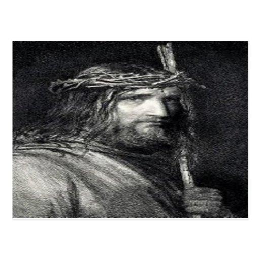Jesús con la postal cruzada