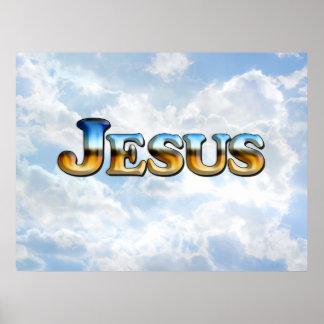Jesús con las nubes - poster