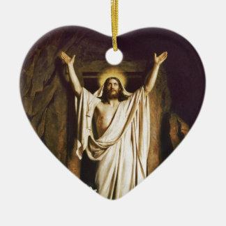 Jesús con Maria después de la resurrección Adorno Navideño De Cerámica En Forma De Corazón
