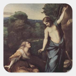 Jesús con Maria después de la resurrección Pegatina Cuadrada