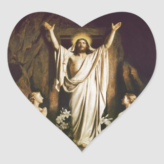 Jesús con Maria después de la resurrección Pegatina En Forma De Corazón