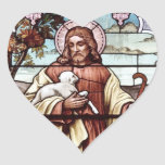 Jesús con sus ovejas pegatina corazón personalizadas