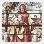 Jesús con sus ovejas pegatina cuadrada