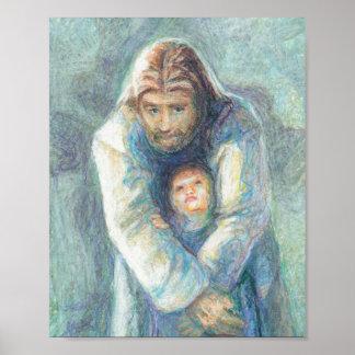 Jesús con un niño póster
