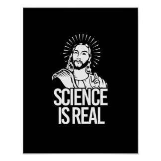 Jesus Concurs - Science is Real - white - - Pro-Sc Poster