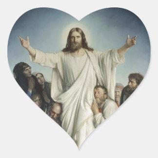 Jesus Consoles Crowd Heart Sticker
