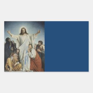 Jesús consuela a la muchedumbre pegatina rectangular