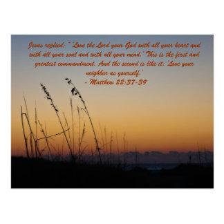 """Jesús contestó: """" Amor del ` el señor su dios con  Postal"""