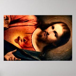 Jesús - corazón sagrado póster