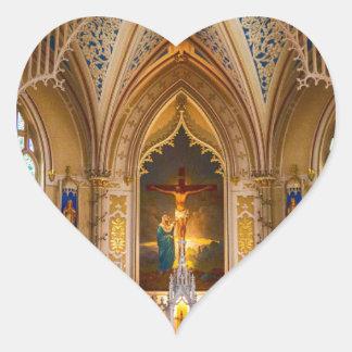 Jesus Cross Church Heart Sticker