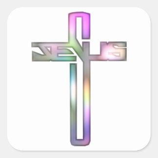 Jesus Cross Square Sticker