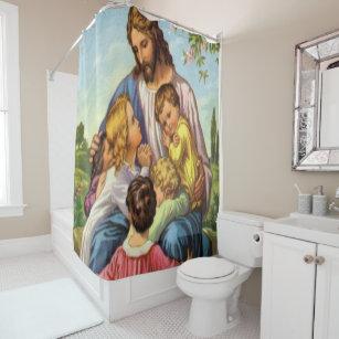 Jesus Cross White Showercurtain Shower Curtain