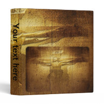Jesus Crucifixion Engraved on Wooden Plank 3 Ring Binder