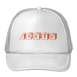 Jesus Cube Orange. Mesh Hat