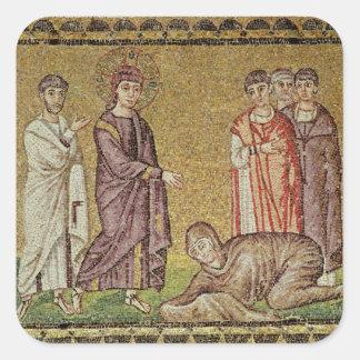 Jesús cura a la mujer que sangra pegatina cuadrada