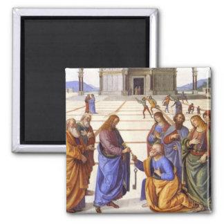 Jesús da a Peter las llaves al imán del cielo