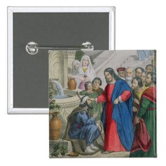 Jesús da vista a una persiana nacida, de una bibli pin cuadrada 5 cm
