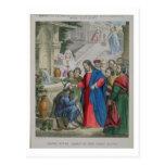 Jesús da vista a una persiana nacida, de una bibli tarjeta postal