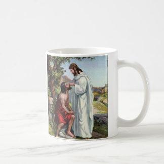 Jesús da vista al hombre ciego taza de café