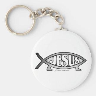 Jesus & Darwin Fish Keychain (solo)