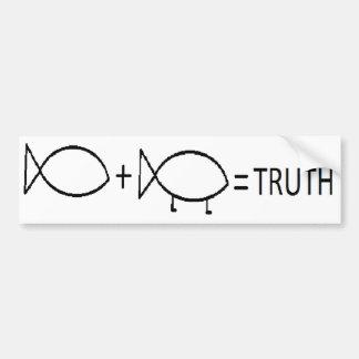 JESUS + DARWIN = TRUTH, BL BUMPER STICKER