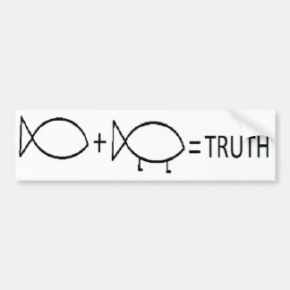 JESUS + DARWIN = TRUTH, BL CAR BUMPER STICKER
