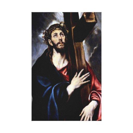 Jesús descubre la cruz impresión en tela