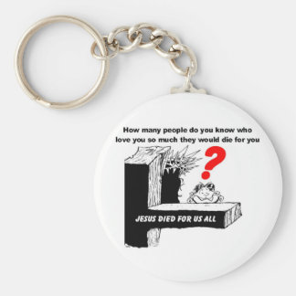 JESUS DIED FOR US ALL BASIC ROUND BUTTON KEYCHAIN