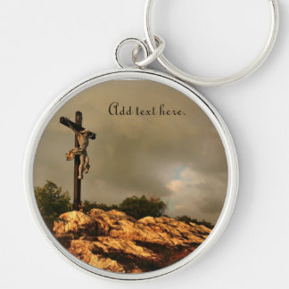 Jesus Died on the Cross Silver-Colored Round Keychain