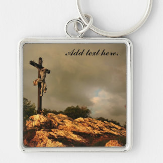 Jesus Died on the Cross Silver-Colored Square Keychain
