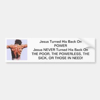 Jesús dio vuelta a su parte posterior en poder etiqueta de parachoque